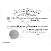 Masonic Honorary Member Certificate