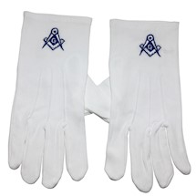 Masonic Gloves embroidered with Square and Compass
