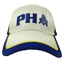 White & Royal Blue PHA White cotton twill cap