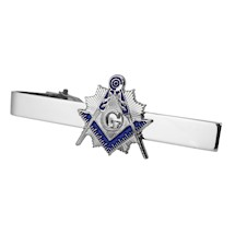 Masonic Tie Bar Set - silvertone with Blue enamel