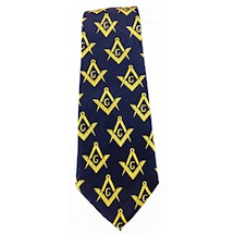 Masonic tie Navy Blue w/yellow emblems