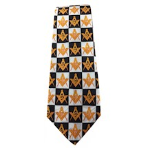 Masonic tie checkerboard w/gold emblems