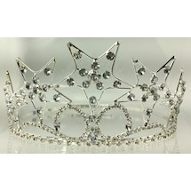 Eastern Star Crown in silver tone with all white stones