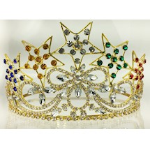 OES Crown w five stars gold tone colored rhinestones