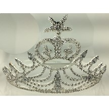 Amaranth Crown Silvertone w ALL White Rhinestones