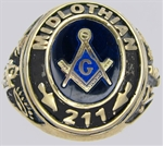 Custom Gold Masonic Lodge Ring 11010