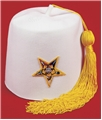 "OES White Stock fez with Star and 12"" tassel"