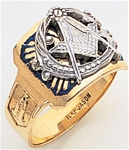 "Masonic ring Enameled Round Front with S&C and ""G"" - 10KYG"