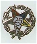 OES 25 year service pin with wreath
