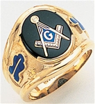 "Master Mason Ring Round stone with S&C and ""G"" - 10KYG"