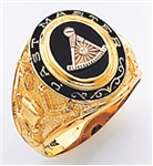 Past Master ring Round stone, Compas & Quadrant with Sun with Words - 10K Y&WG