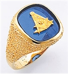 Past Master ring Square stone & rounded edges, Square,Compass & Quadrant with Sun - 10KYG