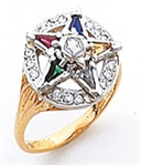 O.E.S. Member's ring with 15 one point cubic zircons
