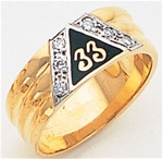 Scottish Rite Gold 33 Ring with stones & Personalization