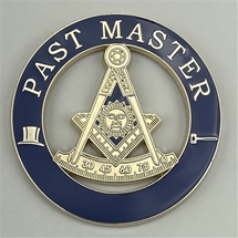 Cutout Past Master Blue Emblem with Square, Compass, Quadrant and Sun