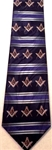 Masonic tie Navy blue with rows of Square & Compasses with yellow emblems