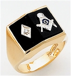 Masonic Ring with 1/2 pt diamond - 9939 - open back