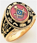 "Master Mason ring Round stone with S&C and ""G"" - 10K YG"