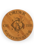 OES engraved round bamboo cutting board