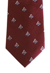 Maroon Masonic Tie w/ Blue & White Emblems