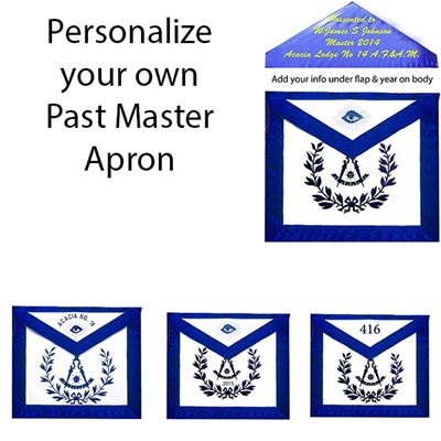 Custom Leather Past Master Apron Emblem with Wreath