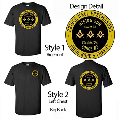 Masonic Lodge T-Shirt Prince Hall Circle Design