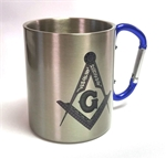 Bespoke Masonic Carabiner Mug blue handle