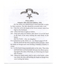 Syllabus for Macoy's Adoptive Rite Ritual