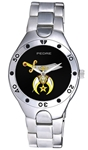 Shrine Watch w/ Simitar & Crescent Emblem on Black Face - Silvertone - SALE