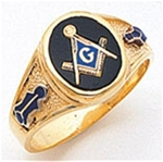 "Masonic ring Round stone with S&C and ""G"" - 10KYG"