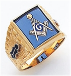 "Master Mason Ring Square stone with S&C and ""G"" - 10KYG"