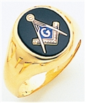 "Master Mason ring Round stone with S&C and ""G"" 10k Gold."