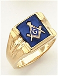 "Master Mason ring with Square stone with S&C and ""G""- 10K YG"