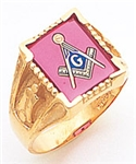 "Master Mason ring Square stone with S&C and ""G""- 10KYG"