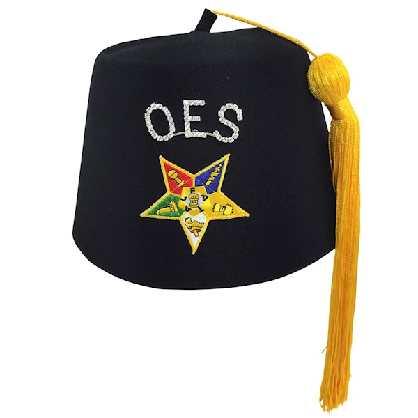 "OES Black Star Fez with 1"" rhinestone OES pin"