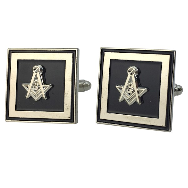 Masonic Cuff Links - Silver tone - Black