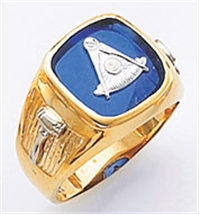 Past Master ring Square stone & rounded edges, Compass & Quadrant with Sun - 10K Y&WG