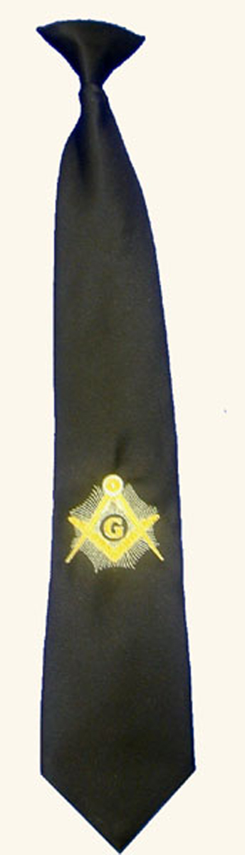 Black Masonic Clip-on Tie