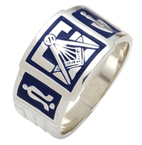 "Mason ring Enameled Front with S&C and ""G""  Sterling Silver"